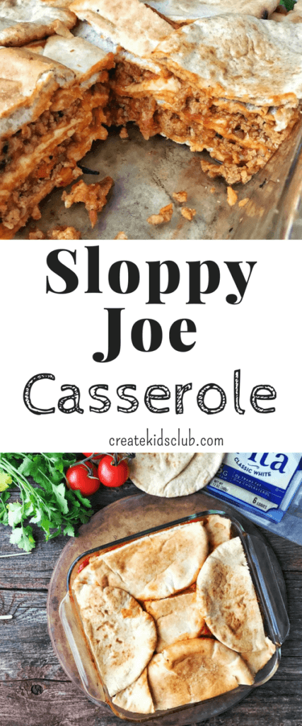 Sloppy Joe Casserole is a fun twist on a classic dish. Simply layer pitas, ground turkey or beef, sloppy Joe mix and repeat. Bakes in just 20 minutes for a quick dinner meal.
