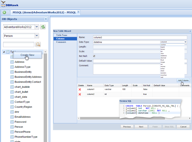 Creating a new table in MS SQL Server database using DBHawk