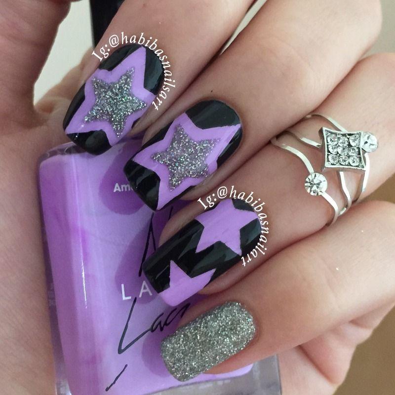 Stars Nail Art Nail Art By Habiba El Kallas Habibasnailart Purple Nail Designs Star Nail Art Purple Manicure