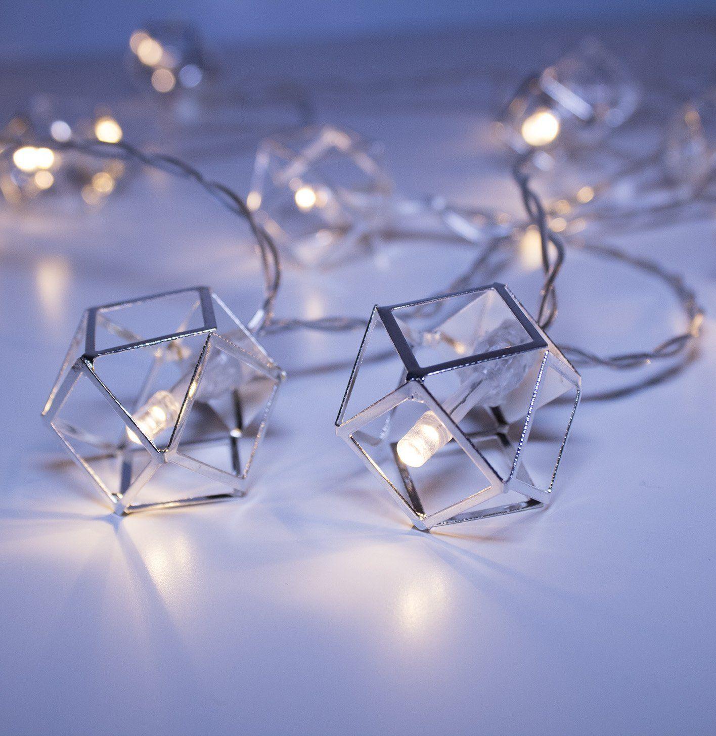 Led-lichterketten luxlumi geosilver pendant string lights batteries included with
