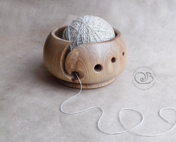 Wood carved bowl Wooden yarn bowl Wood knitting bowl Wood yarn organizer Crochet bowl Handmade bowl Ash wood bowl Wooden woomens gift #crochetbowl