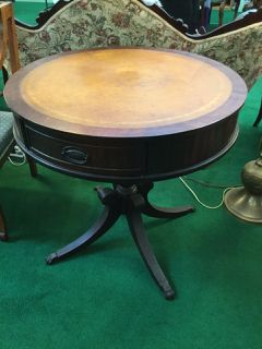 VINTAGE DUNCAN PHYFE ROUND LEATHER TOP TABLE WITH STORAGE DRAWER, MADE IN  1955, CLAW