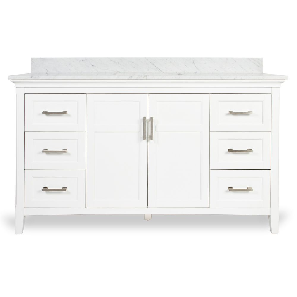 Abbott inch w vanity combo in white finish with marble top in