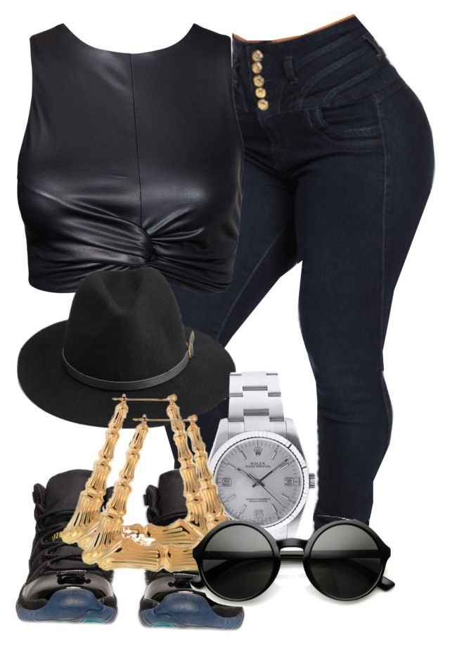 """Dark look"" by edorvil ❤ liked on Polyvore featuring Retrò, BeckSöndergaard and Rolex"