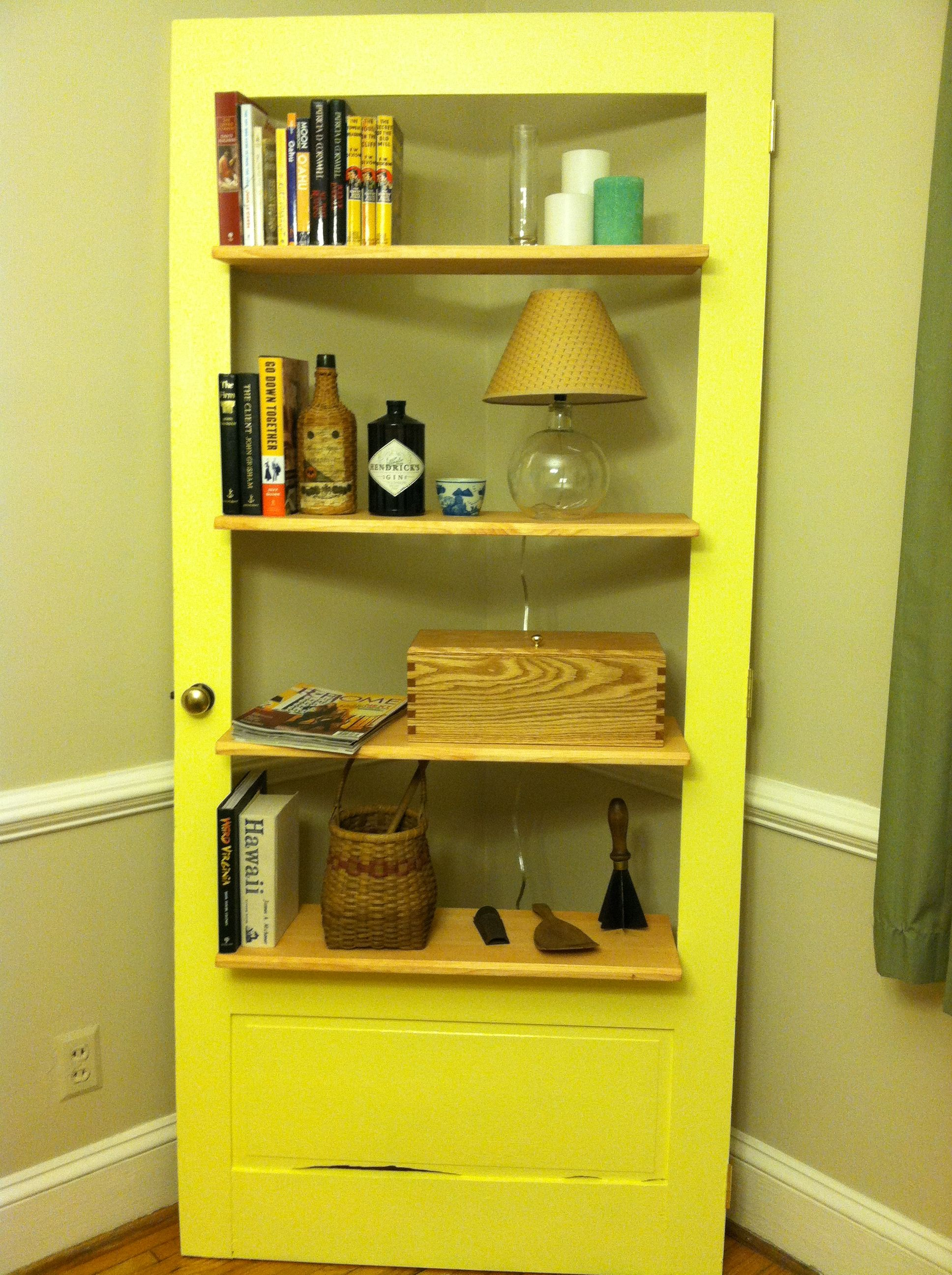Corner Bookshelf Made Out Of Storm Door (With Images