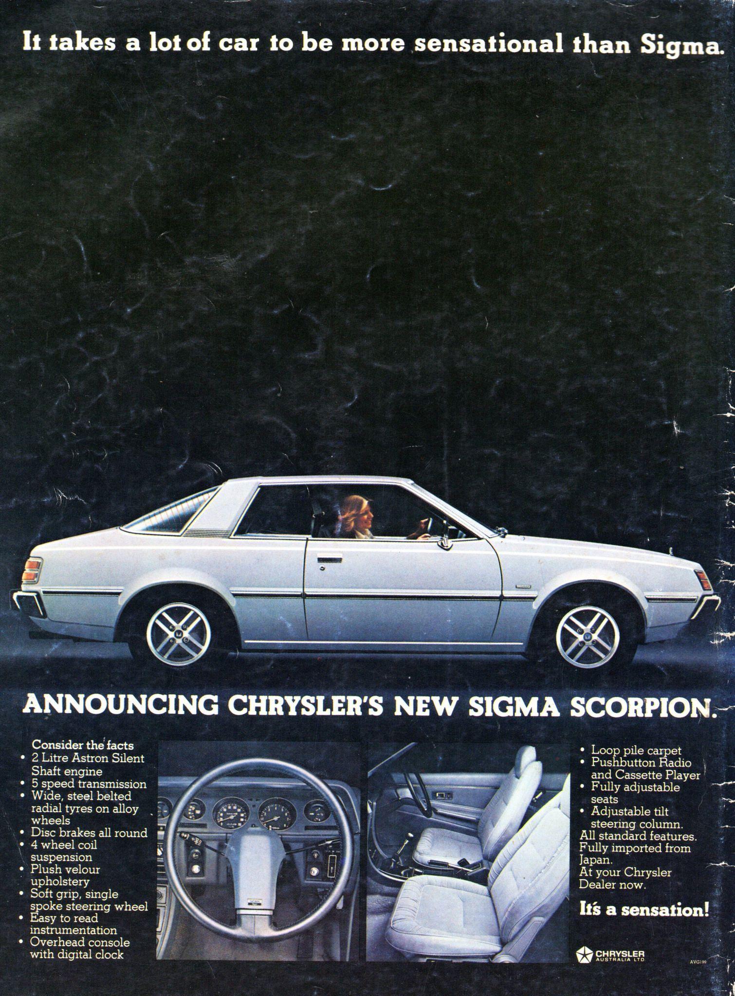 1978 GH Chrysler Mitsubishi Scorpion 2 Door Aussie Original Magazine