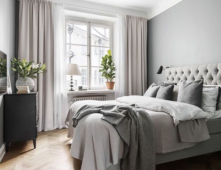Bedroom With Lots Of Gray And Neutrals Love The Long Curtains Bedding In Tones Of Gray P Home Decor Bedroom Bedroom Interior Grey Bedroom With Pop Of Color