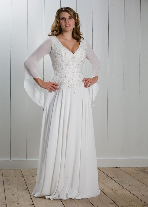 Plus Size Second Wedding Dresses With Sleeves White