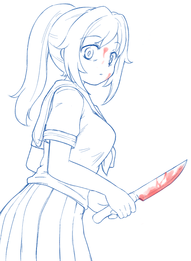 a sketch of Yandere-chan from yandere simulator. oh that\'s ketchup ...
