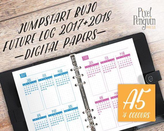 Future Log Yearly Agenda Calendar 2017 2018 Planner Insert A5
