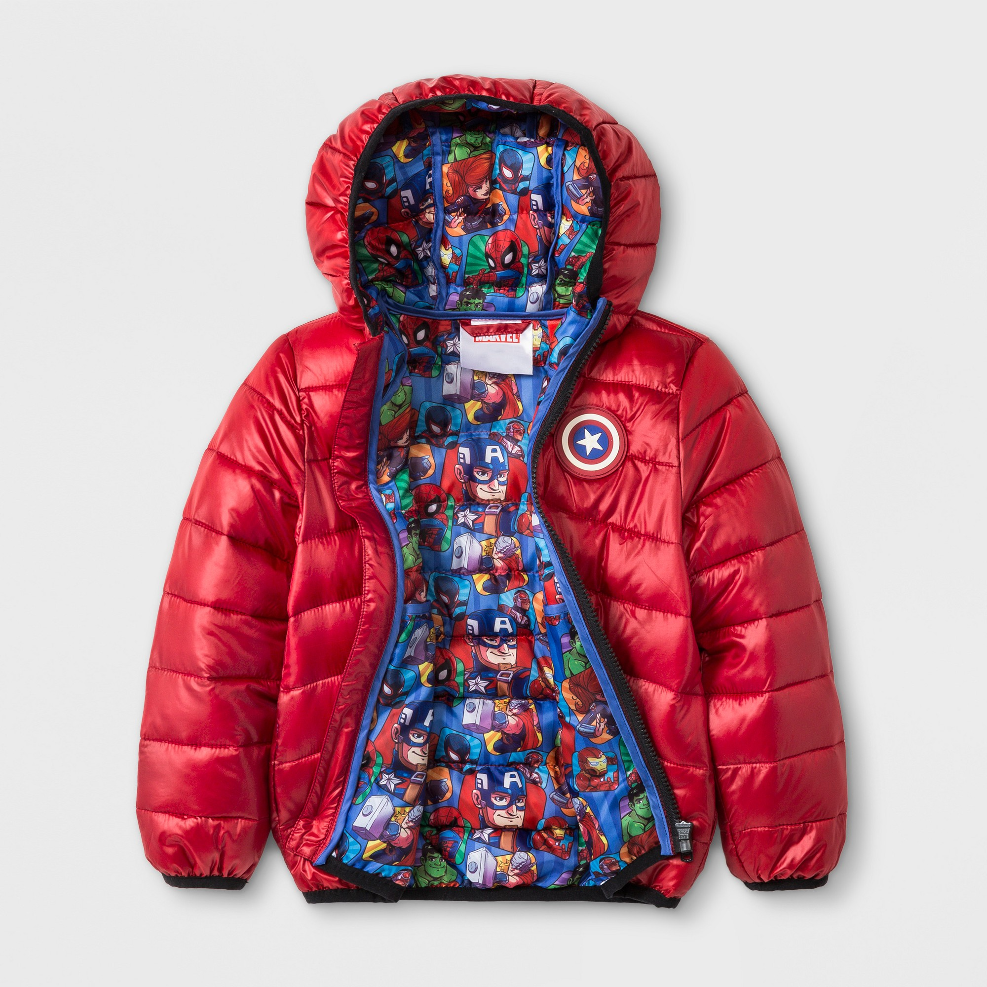 Toddler Boys Marvel Avengers Hooded Quilted Jacket Red 12m Red Jacket Quilted Jacket Toddler Boy Coats [ 2000 x 2000 Pixel ]