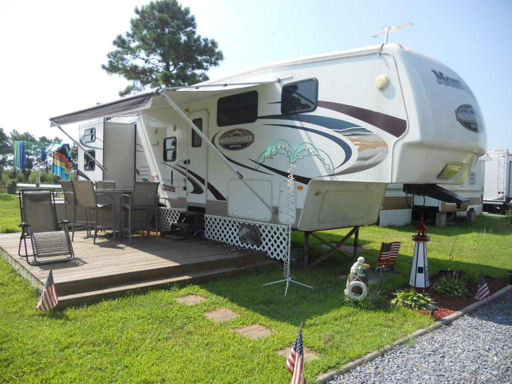 New deck on new camper camping pinterest decking rv for Rv decks