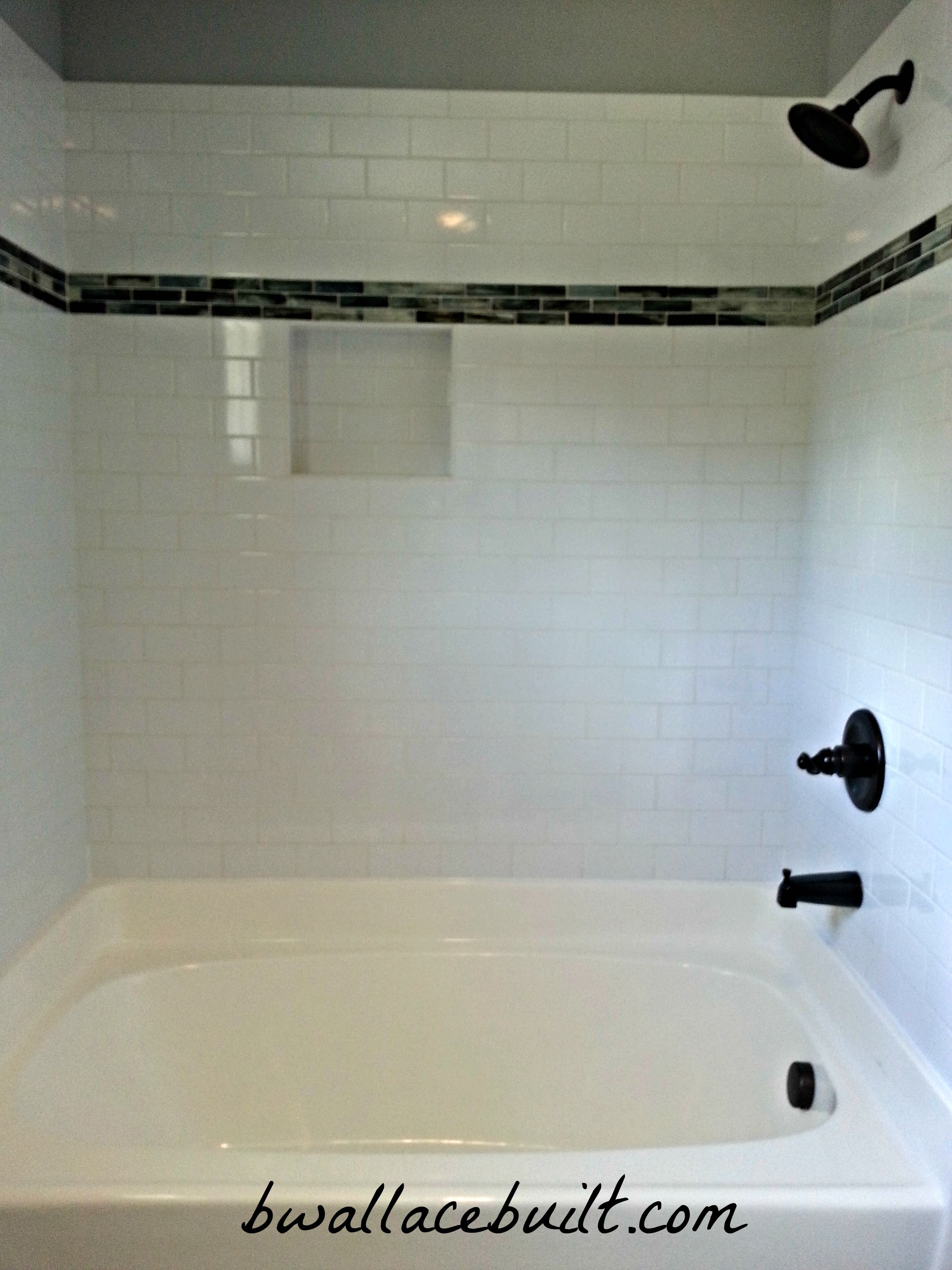 light gray subway tile with slate tile accent the harrier