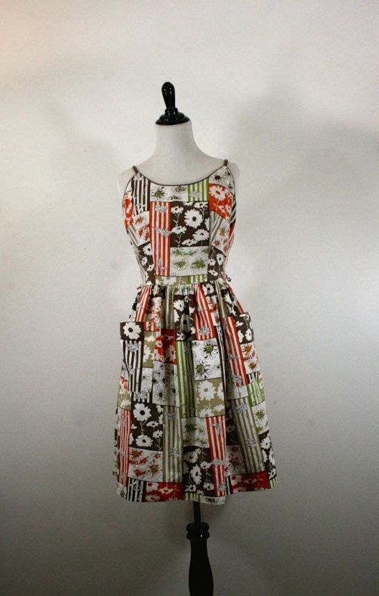 1950s Sun Dress Floral Fall Colors by YaYaRetro on Etsy
