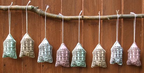 Little Stockholm    mini printed, sewn and stuffed houses gocco printed onto cotton napkins from the local Laura Ashley outlet shop - I bet they never thought they'd become houses! by Monda Loves