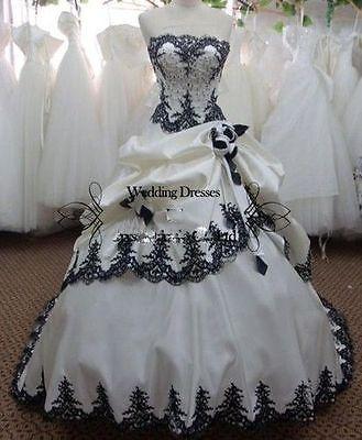 Vintage Black White Gothic Ball Gown Wedding Dress Bridal Gowns