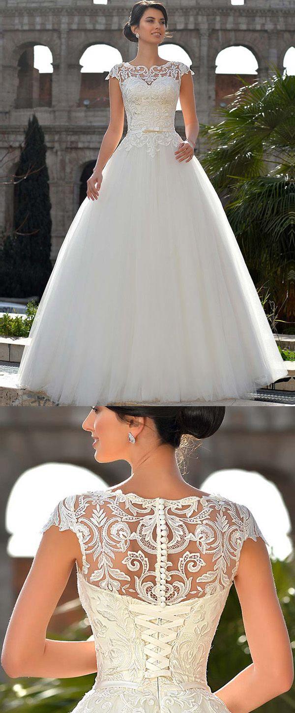 Lace wedding dress tulle november 2018 NEW Fantastic Tulle Jewel Neckline Natural Waistline Aline Wedding