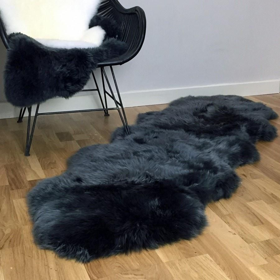 Sumptuous Sheepskin Double Rug Seal Grey (With images