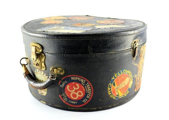 Vintage Hat Box Luggage Covered In Travel Stickers Vintage Hat Boxes Hats Vintage Hat Boxes