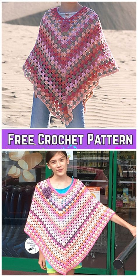 Crochet Granny Stitch Poncho Free Crochet Patterns - Video #grannysquareponcho