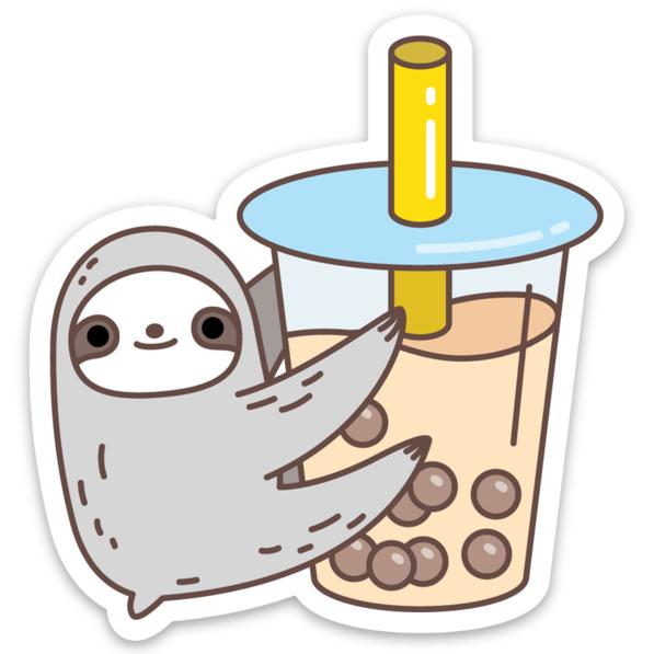 Sloth Loves Bubble Tea Vinyl Sticker
