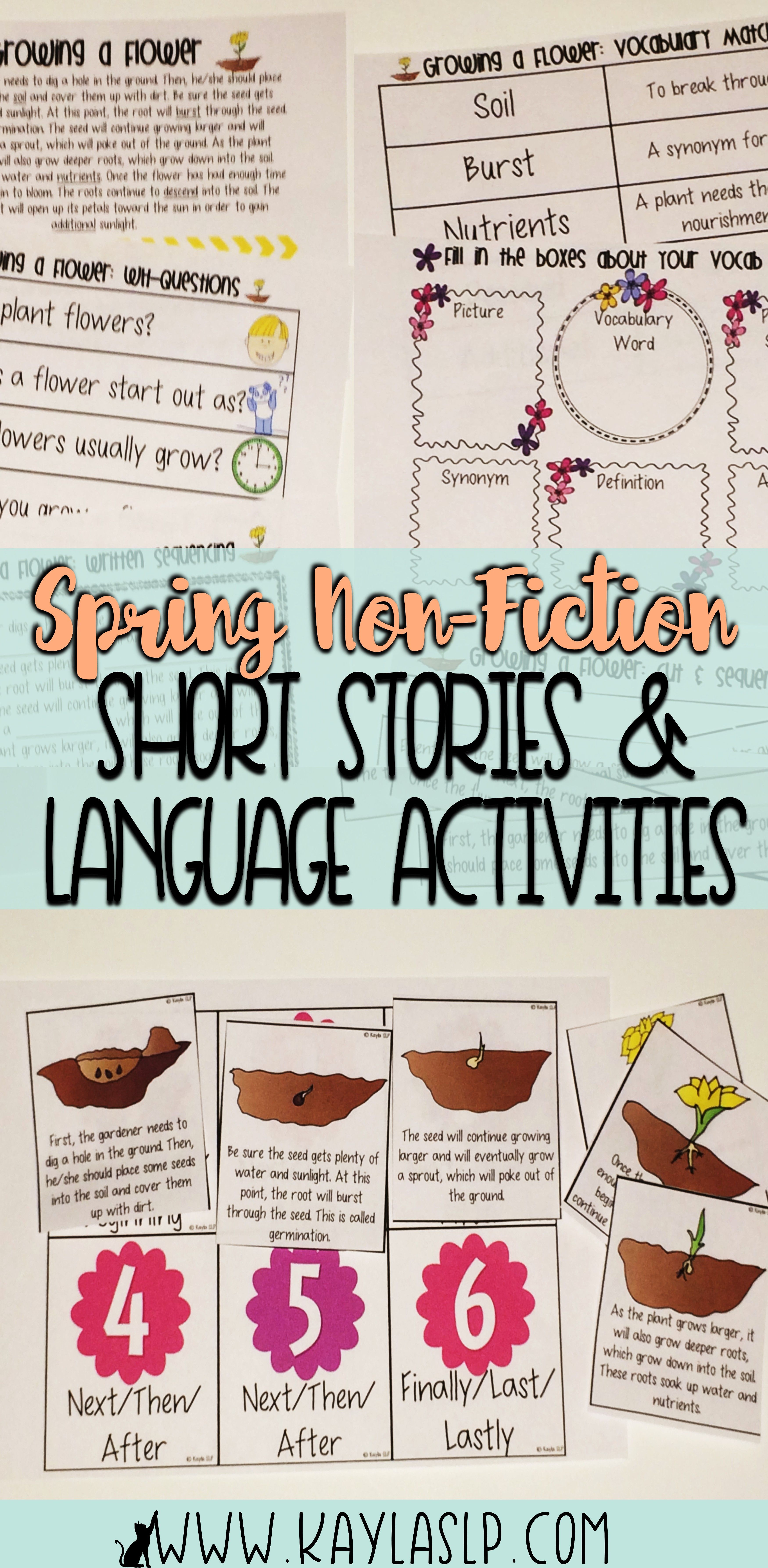 Spring Non Fiction Short Stories Language Activities