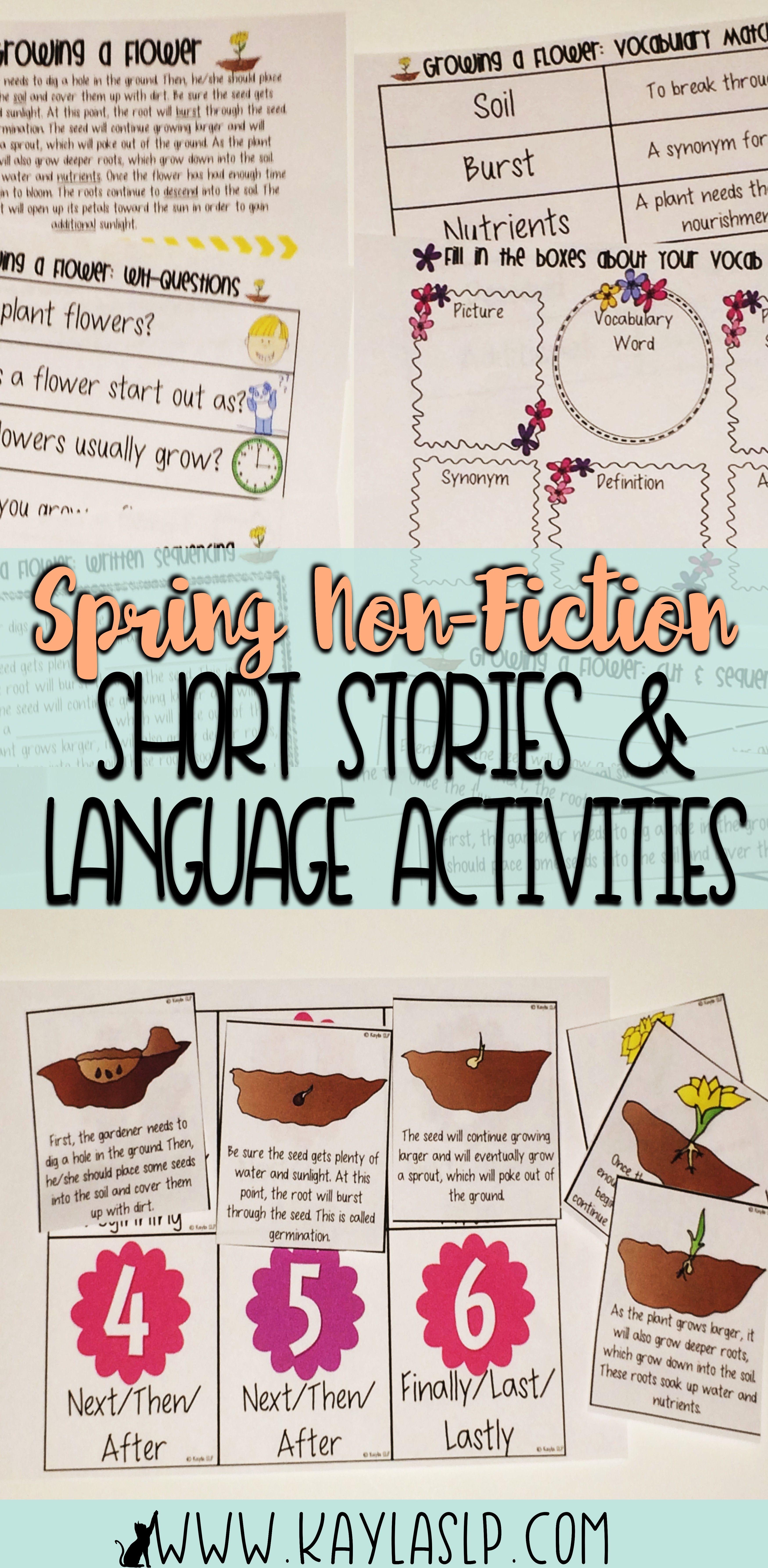 Spring Non Fiction Short Stories Language Activities