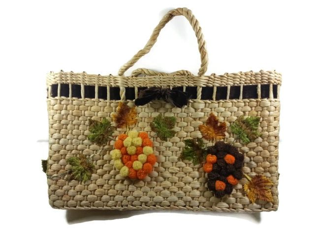 Straw Tote Bag Bark Cloth Lined Hand Bag