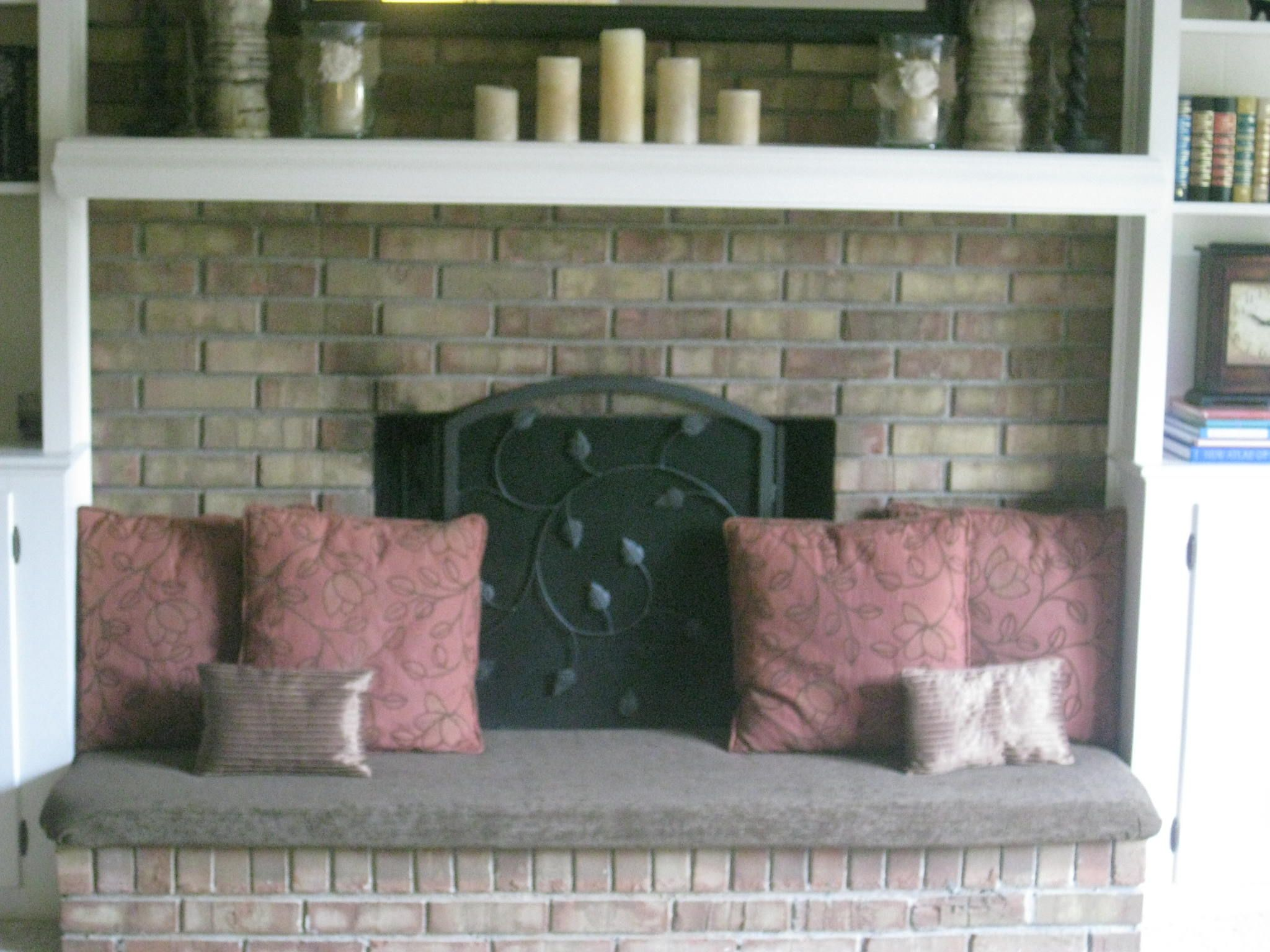 Fireplace hearth cover...added seating and safer for little ones ...