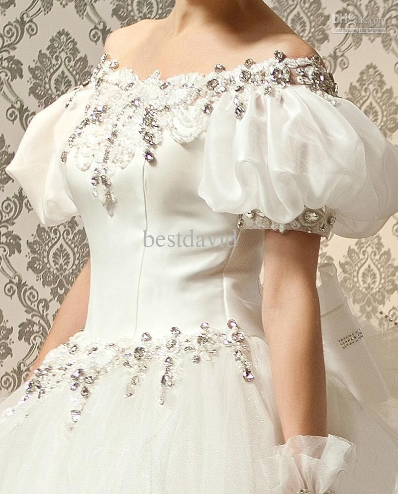 Cheap Off-the-Shoulder Ball Gown Wedding Dress Puff Sleeves Tulle ...