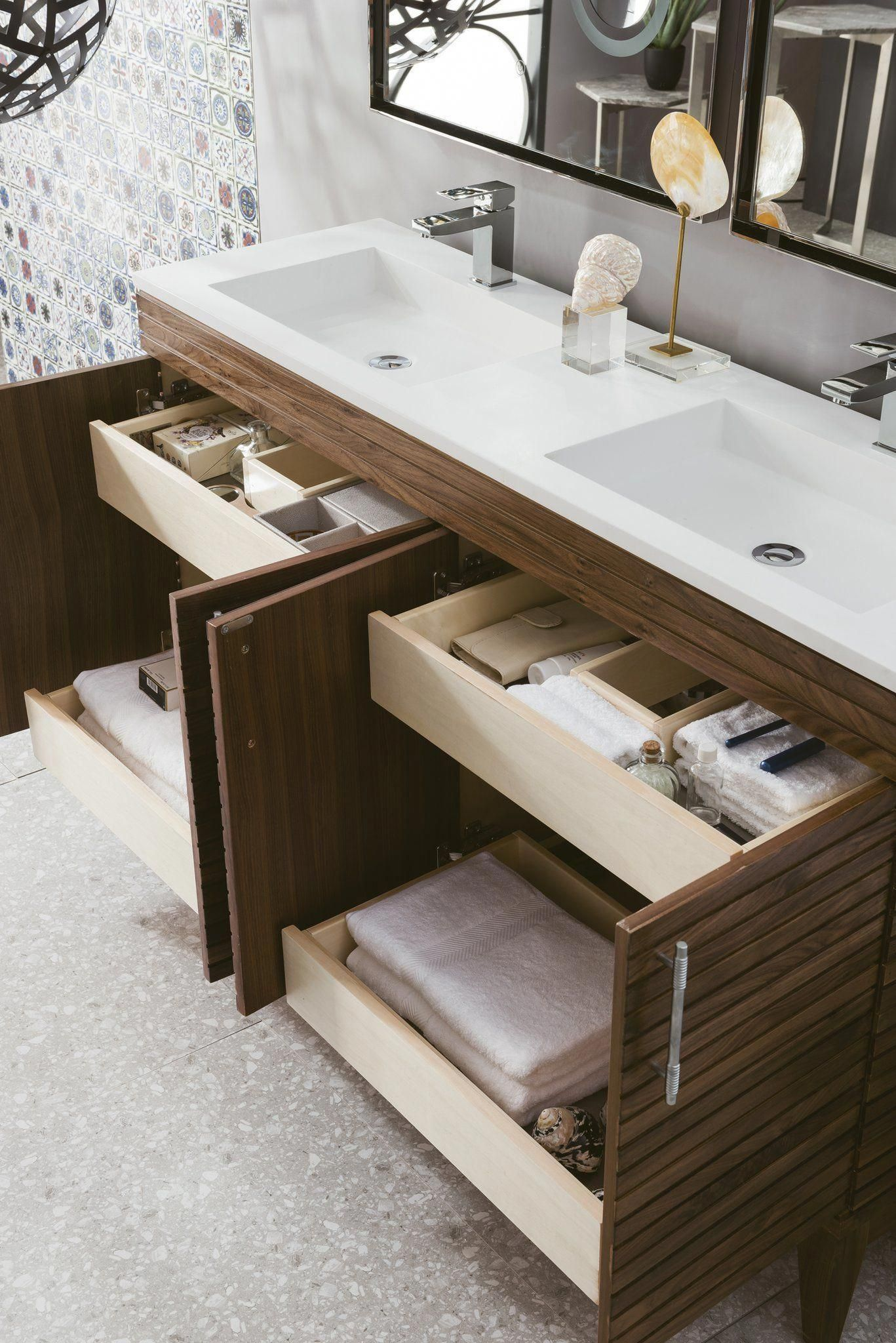 Pull Out Drawers Maybe Just One Side Lineage 59 Double Vanity Mid Century Walnut Masterbathroom Bathroom Layout Bathroom Interior Bathroom Design [ 2048 x 1367 Pixel ]