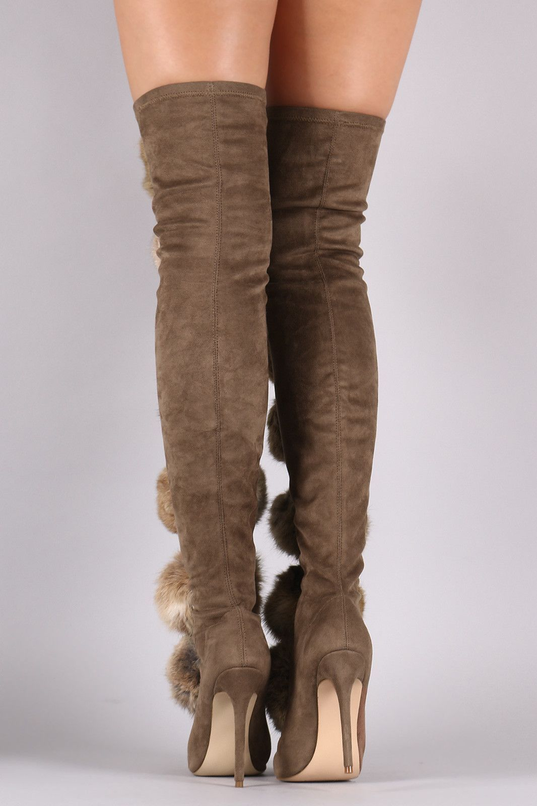 efa55d34d0c Privileged Suede Oversized Pom Pom Fitted Stiletto Over-The-Knee Boots