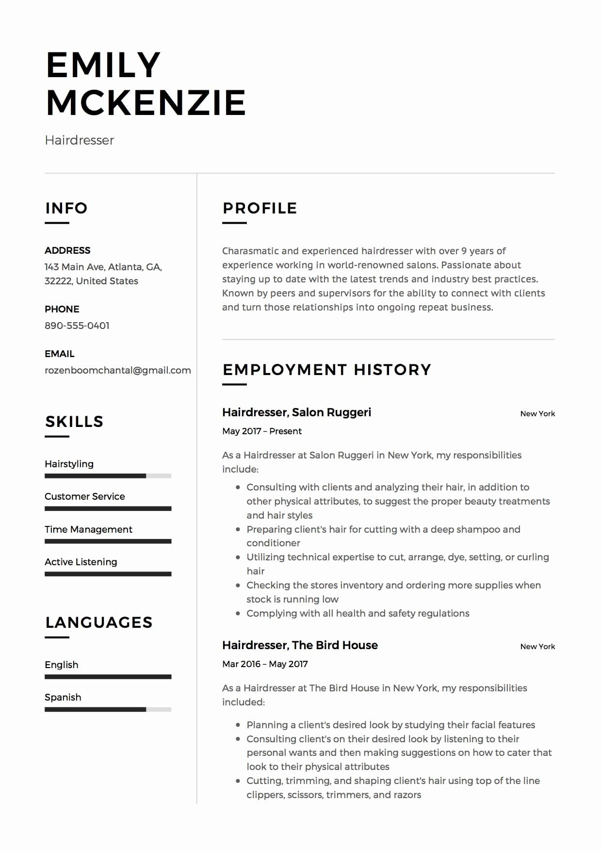 Hairdresser Resume Sample, example, template, cv, creative