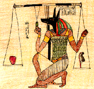 Anubis God of the Dead  Judge for the afterlife, measures