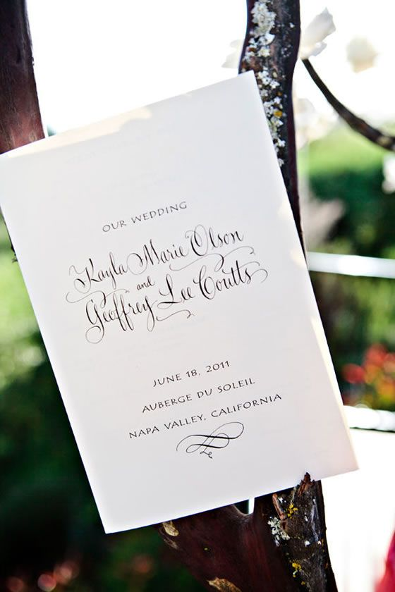 Wedding Program By Hyegraph Invitations Using Cream Card Stock And Elegant Script Font