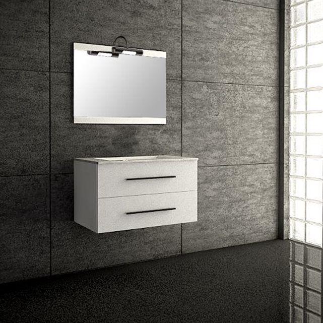 Ensemble de salle de bain SEVILLE meuble suspendu blanc 80 cm - leroy merlin meuble salle de bain neo