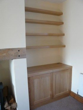 Oak Single Alcove With Floating Shelves Sitting Room Alcove