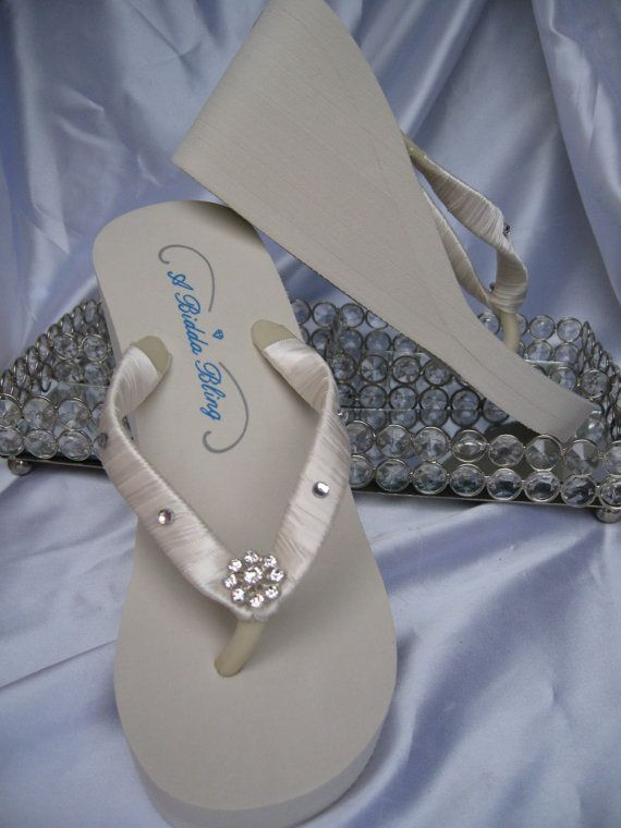93f3e5f1d14c Ivory Wedge Flip Flops with Crystals and Rhinestones for the Bride and her  Bridal Party Bridal Ivory Sandals on Etsy