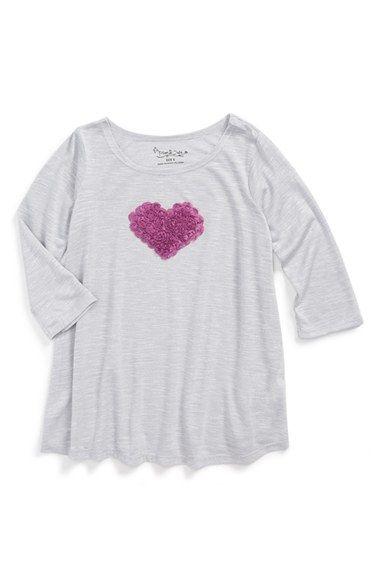 Pippa & Julie Rosette Heart Embellished Slub Top (Toddler Girls, Little Girls & Big Girls)