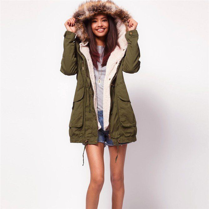 Olive Green Parka Coat - JacketIn