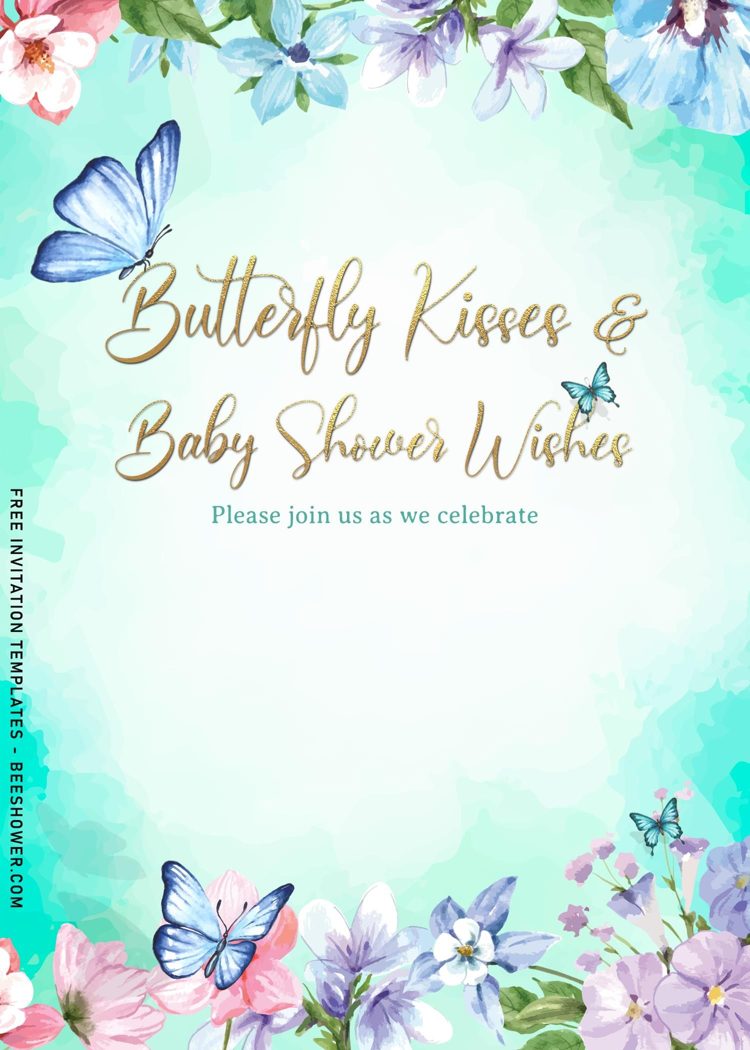7 Beautiful Watercolor Butterfly Baby Shower Invitation Templates In 2021 Butterfly Baby Shower Invitations Butterfly Baby Shower Baby Shower Invitation Templates