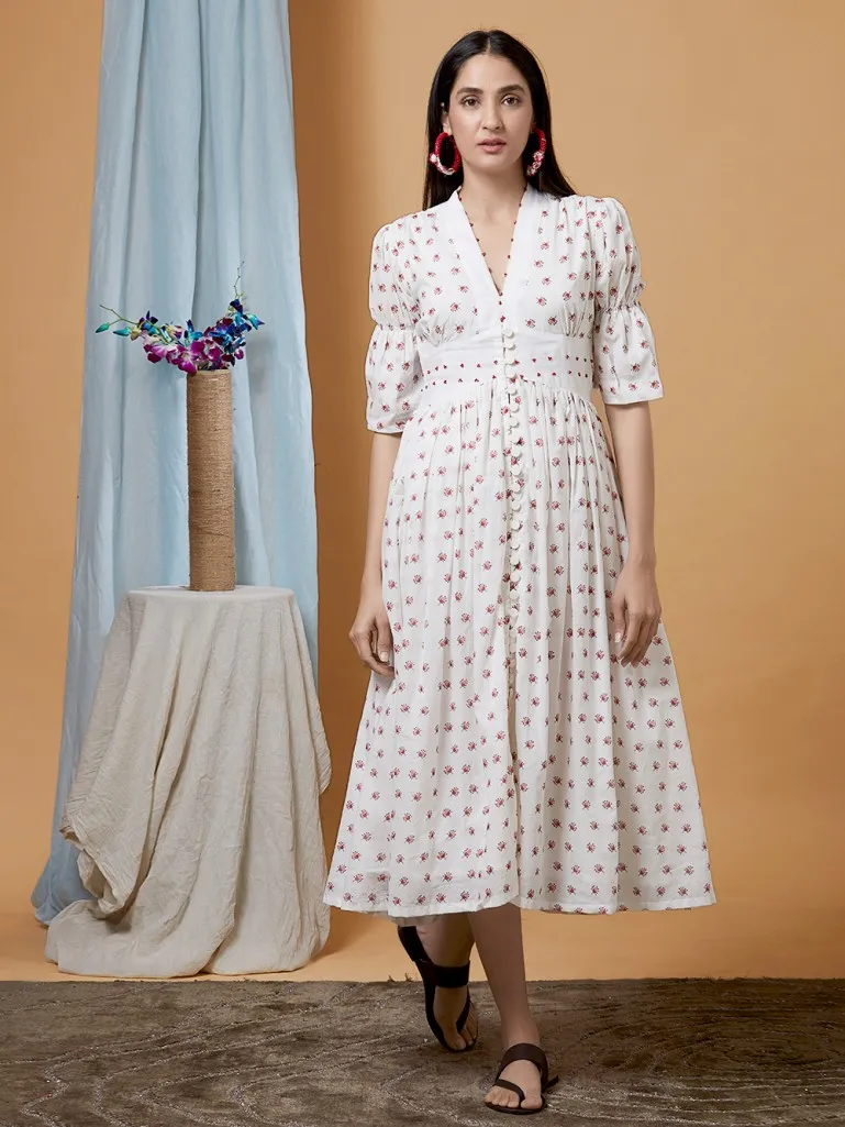 Buy White Printed Cotton Dress Online At Theloom In 2020 Women Cotton Dress Summer Dresses Online Cotton Dresses Online [ 1025 x 769 Pixel ]