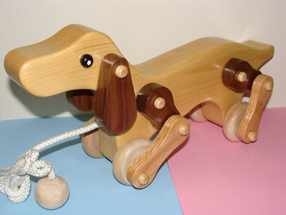 Wooden Walking Dog Pull Toy By Darlingling On Etsy 85 00 Wood