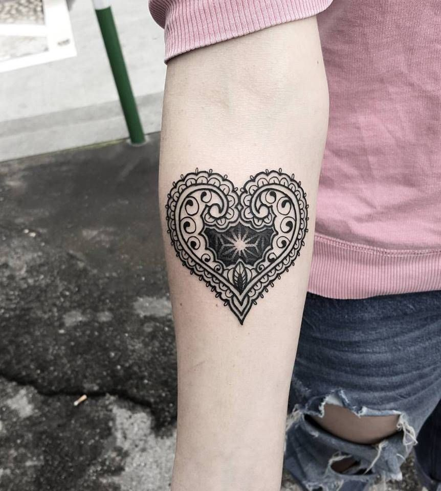 Henna Designs For Inner Arm: Henna Inspired Ornamental Heart Tattoo On The Right Inner