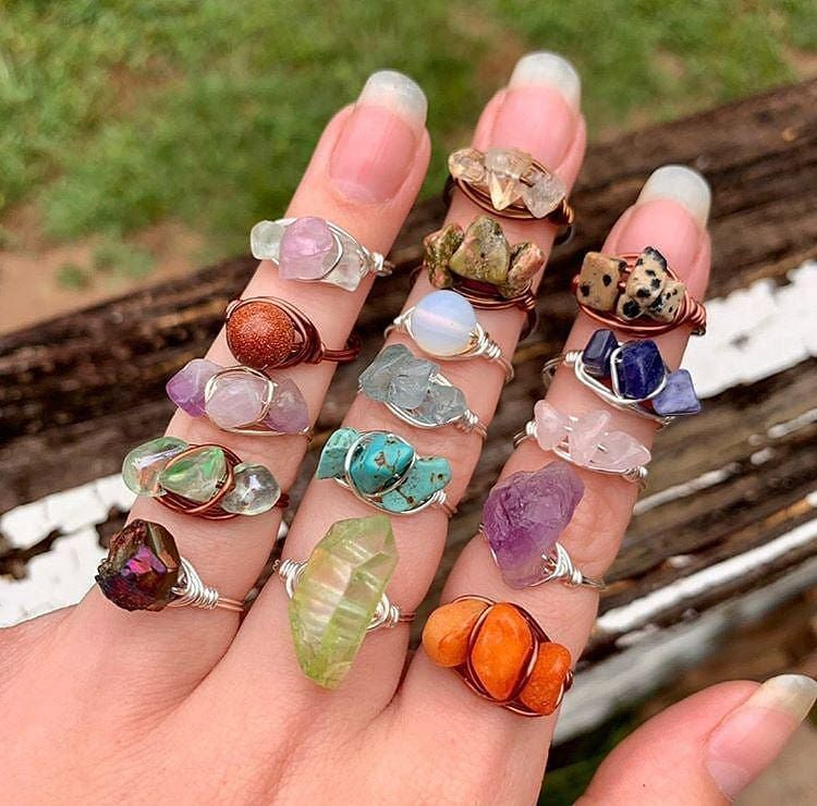 Crystal Rings,Crystal Wire Rings,Wire Wrapped Gemstone Rings,Crystal Ring Set,Spiritual Ring,wire wrap silver ring,gemstone wire ring,ring