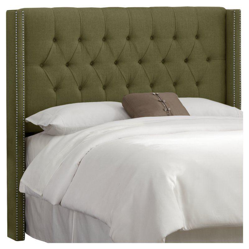 Diamond Tufted Wingback Linen Upholstered Headboard Olive Linen ...