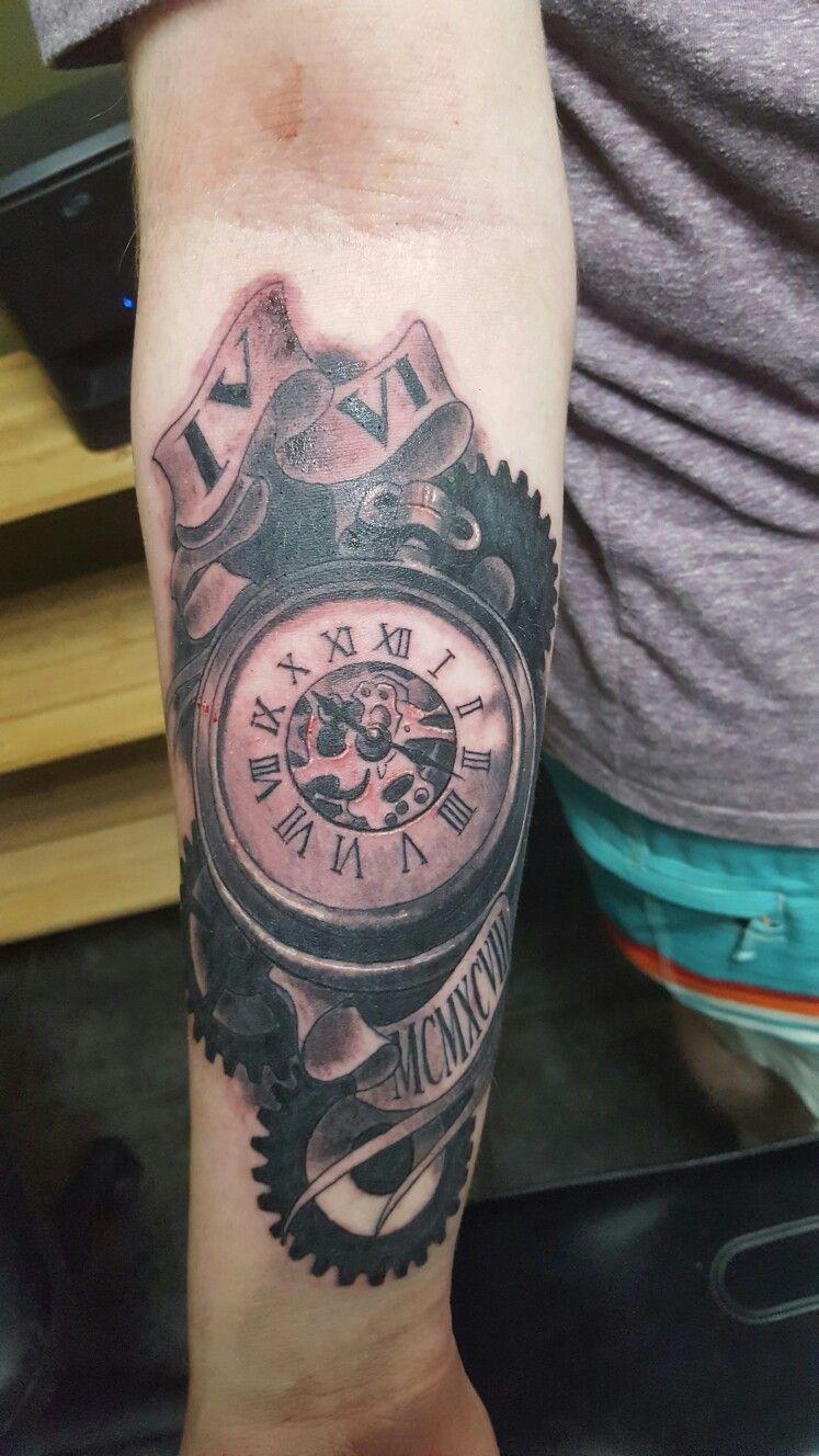 jared 39 s first tattoo clock tattoo time tattoo birth date tattoo tattoo ideas pinterest. Black Bedroom Furniture Sets. Home Design Ideas