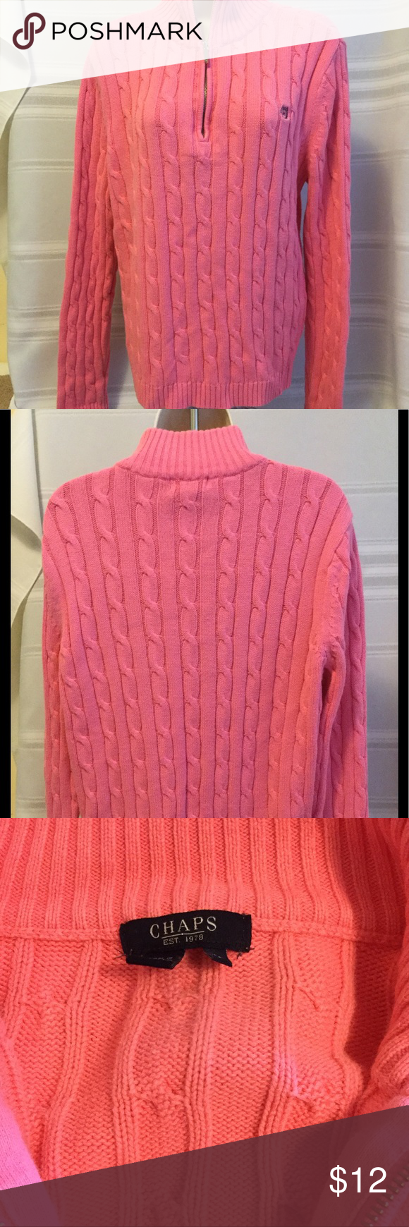 Chaps - Coral/Pink Turtleneck Sweater. Sz L | Coral pink, Coral ...