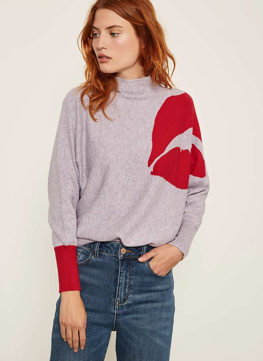 Lilac Red Lips Batwing Knit High Fashion Street Style Mint