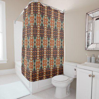 Turquoise Green Orange Tribal Cabin Mosaic Pattern Shower Curtain ...